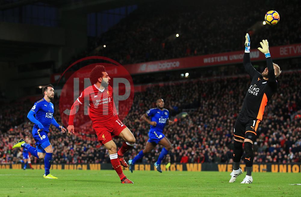 Mohamed Salah of Liverpool chips the ball over Kasper Schmeichel of Leicester City - Mandatory by-line: Matt McNulty/JMP - 30/12/2017 - FOOTBALL - Anfield - Liverpool, England - Liverpool v Leicester City - Premier League