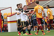 Celebrating Niall McGinns goal during the Ladbrokes Scottish Premiership match between Motherwell and Aberdeen at Fir Park, Motherwell, Scotland on 15 August 2015. Photo by Craig McAllister.