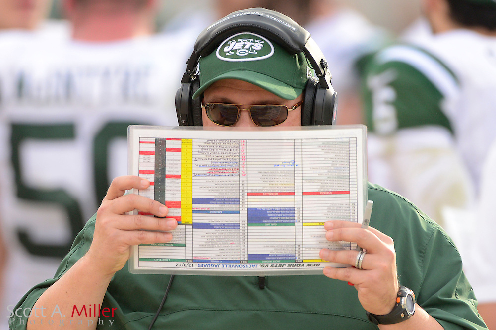 New York Jets offensive coordinator Tony Sparano during an NFL game against the Jacksonville Jaguars at EverBank Field on Dec 9, 2012 in Jacksonville, Florida. The Jets won 17-10...©2012 Scott A. Miller..