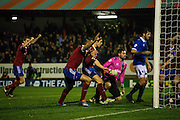 Mark Molesley opens the scoring during the The FA Cup match between Aldershot Town and Portsmouth at the EBB Stadium, Aldershot, England on 19 November 2014.