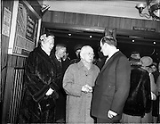 05/02/1960<br /> 02/05/1060<br /> 05 February 1960 <br /> Premiere of Mise Eire at the Regal Cinema, Dublin.  Image shows on right, Donall Ó Morain, right, Chairman Gael Linn, welcoming Mr and Mrs Sean T. O'Kelly to the movie premiere.