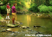 Fishing, Pennsylvania Outdoor recreation, Fishing African American Father and Son Creek Trout Fishing, York Co., PA