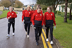 CARDIFF, WALES - Thursday, April 4, 2019: Wales' L-R Kylie Nolan, Grace Horrell, Hayley Ladd and Chloe Lloyd during a pre-match team walk at the Vale Resort ahead of an International Friendly match between Wales and Czech Republic at Rodney Parade. (Pic by David Rawcliffe/Propaganda)