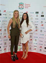 LIVERPOOL, ENGLAND - Thursday, May 12, 2016: Liverpool Ladies' Welsh internationals Sophie Ingle and Natasha Harding arrive on the red carpet for the Liverpool FC Players' Awards Dinner 2016 at the Liverpool Arena. (Pic by David Rawcliffe/Propaganda)