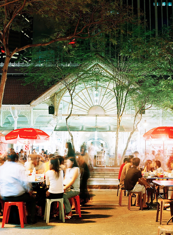 Lau Pa Sat hawker center at night