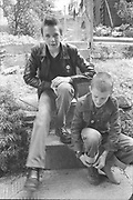 Scott and Neville on Steps, Hawthorne Road, High Wycombe, UK, 1980's