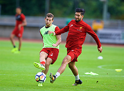 ROTTACH-EGERN, GERMANY - Friday, July 28, 2017: Liverpool's Jon Flanagan and Emre Can during a training session at FC Rottach-Egern on day three of the preseason training camp in Germany. (Pic by David Rawcliffe/Propaganda)