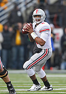 November 20 2010: Ohio State Buckeyes quarterback Terrelle Pryor (2) looks for a receiver during the second quarter of the NCAA football game between the Ohio State Buckeyes and the Iowa Hawkeyes at Kinnick Stadium in Iowa City, Iowa on Saturday November 20, 2010. Ohio State defeated Iowa 20-17.