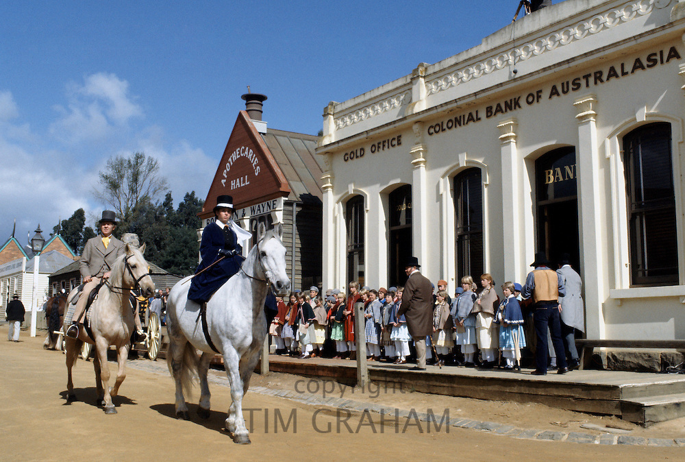 Sovereign Hill, re-enactment of gold rush town and Gold Office at Colonial Bank of Australasia for Australia's Bicentenary,1988