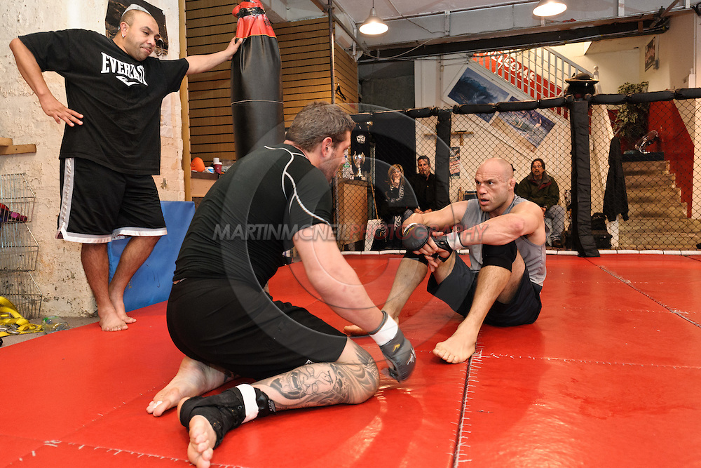Randy Couture and Xtreme Couture coaches have a pre-fight training session at Straight Blast Gym ahead of UFC 105 in Manchester, England on November 12, 2009.