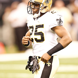 August 27, 2010; New Orleans, LA, USA; New Orleans Saints running back Reggie Bush (25) prior to the start of a preseason game at the Louisiana Superdome. The New Orleans Saints defeated the San Diego Chargers 36-21. Mandatory Credit: Derick E. Hingle