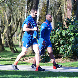 (L-R) Yoann Maestri and Eddy Ben Arous of France during the training session of  the France rugby team at Centre National de Rugby on March 14, 2017 in Marcoussis, France. (Photo by Dave Winter/Icon Sport)