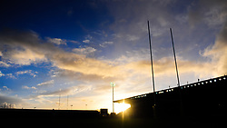 General view as the sun sets at Sandy Park  - Mandatory by-line: Alex Davidson/JMP - 31/12/2017 - RUGBY - Sandy Park Stadium - Exeter, England - Exeter Chiefs v Leicester Tigers - Aviva Premiership