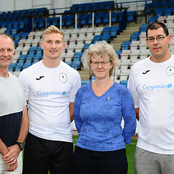 AFC Telford United pre-season photoshoot at the New Bucks Head Stadium on Thursday, August 1, 2019<br /> <br /> Chris Lait with sponsors Nick Brockis, Carolyn Hornby and Michael Clarke from TUSA<br /> <br /> Free for editorial use only<br /> Picture credit: Mike Sheridan/Ultrapress<br /> <br /> MS201920-004