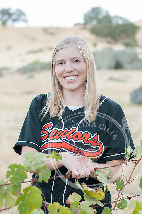 Girls Senior Portrait in jersey by Kristina Cilia Photography of Vacaville