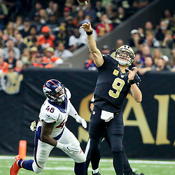 Nov 13, 2016; New Orleans, LA, USA;  New Orleans Saints quarterback Drew Brees (9) throws against the Denver Broncos during the first half of a game at the Mercedes-Benz Superdome. Mandatory Credit: Derick E. Hingle-USA TODAY Sports