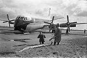 29/03/1963<br /> 03/29/1963<br /> 29 March 1963<br /> B.E.A. Aircrash at Dublin Airport. The crashed BEA Vanguard G-APEJ that carried 43 passengers and seven crew from London to Dublin. The Airport Terminal can be seen 1/2 mile in background. There were no fatalities in the accident. Note Emergency worker/ Fireman with hose on standby.