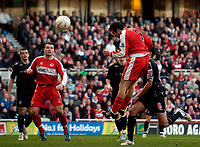 Photo: Jed Wee/Sportsbeat Images.<br /> Middlesbrough v West Bromwich Albion. The FA Cup. 17/02/2007.<br /> <br /> Middlesbrough's Julio Arca jumps to head in the opening goal.