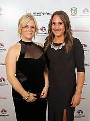 CARDIFF, WALES - Monday, October 6, 2014: Wales' Suzanne Twamley and Rachel Watling at the FAW Footballer of the Year Awards 2014 held at the St. David's Hotel. (Pic by David Rawcliffe/Propaganda)
