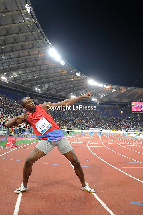 Foto Alfredo Falcone - LaPresse<br /> 31 05 2012 Roma ( Italia )<br /> Sport Atletica<br /> Golden Gala 2012 - Stadio Olimpico di Roma<br /> Nella foto: <br /> Usain Bolt<br /> Photo Alfredo Falcone - LaPresse<br /> 31 05 2012 Rome ( Italy )<br /> Sport Athletics<br /> Golden Gala 2012 - Olimpico Stadium of Roma.<br /> In the pic: Usain Bolt
