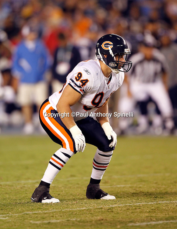 Chicago Bears rookie linebacker Matt Mayberry (94) gets set for the snap during a NFL week 1 preseason football game against the San Diego Chargers, Saturday, August 14, 2010 in San Diego, California. The Chargers won the game 25-10. (©Paul Anthony Spinelli)