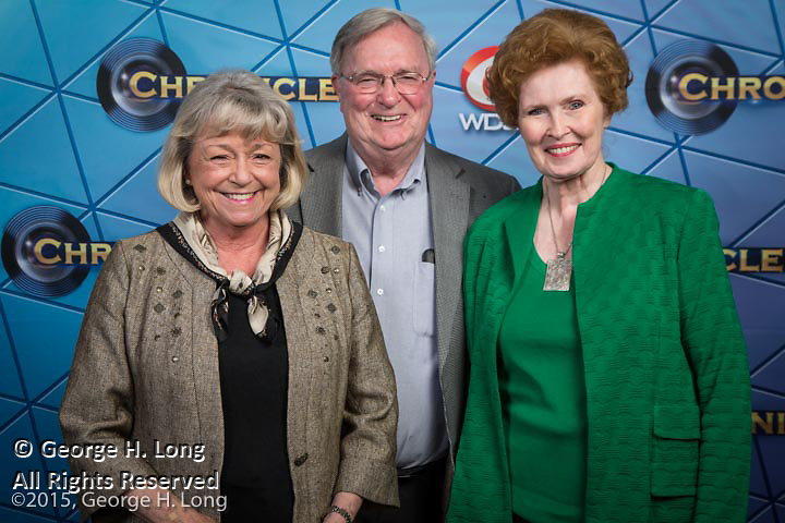 "Linda Morrison Newton with Winston and Pat Riddick at WDSU-TV premiere event for ""Chronicle: The Cuban Evolution"" at the Contemporary Arts Center in New Orleans on June 26, 2015"