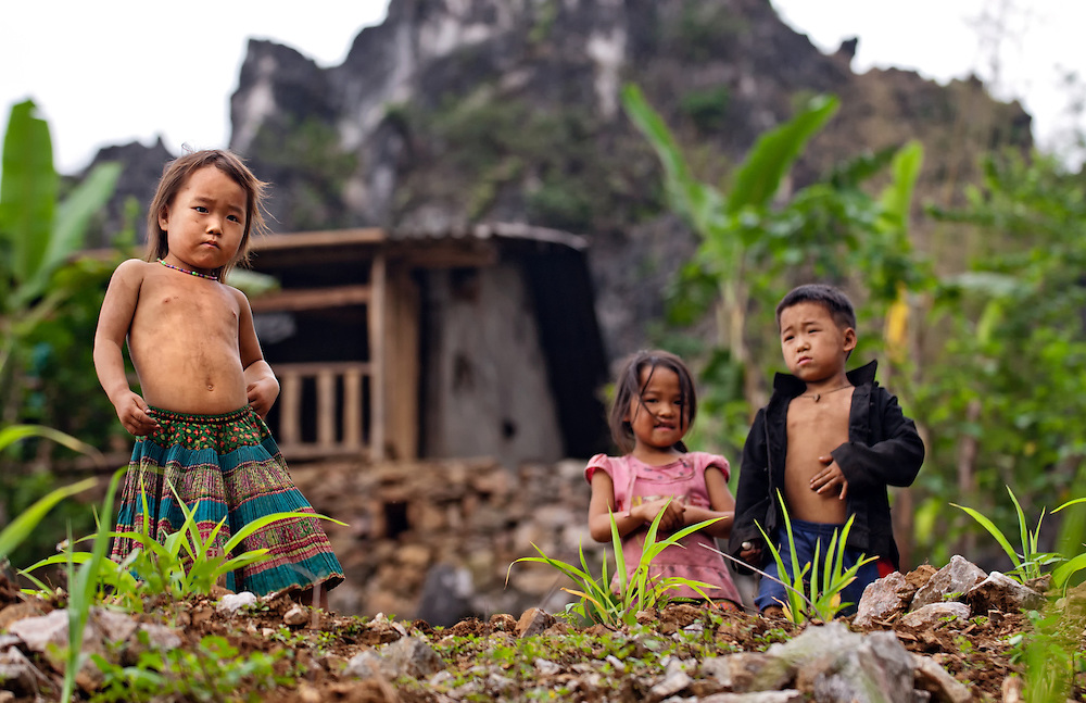 Children in their mountain home on the Dong Van plateu, Vietnam.