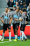 Jose Salomon Rondon (#9) of Newcastle United celebrates Newcastle United's first goal (1-0) with Miguel Almiron (#24) of Newcastle United during the Premier League match between Newcastle United and Huddersfield Town at St. James's Park, Newcastle, England on 23 February 2019.
