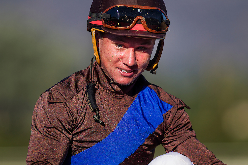 September 26 2015: Jockey, Drayden Van Dyke at Santa Anita Park, Arcadia CA. Alex Evers/ESW/CSM