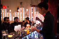 Rome, Italy - December 11, 2014: A bartender mixes drinks at Co.So. Cocktails and Social in Rome's hip Pigneto neighborhood. CREDIT: Chris Carmichael for The New York Times