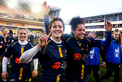 Meg Varley of Worcester Warriors Women and Sara Moreira of Worcester Warriors Women celebrate victory over Bristol Bears Women - Mandatory by-line: Robbie Stephenson/JMP - 01/12/2019 - RUGBY - Sixways Stadium - Worcester, England - Worcester Warriors Women v Bristol Bears Women - Tyrrells Premier 15s