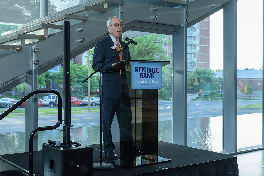 Repubilc Bank Chairman and CEO Steve Trager speaks at the 10-year anniversary celebration of Republic Bank's Private Banking and Business Banking divisions Wednesday, May 17, 2017, at the Speed Museum in Louisville, Ky. (Photo by Brian Bohannon)