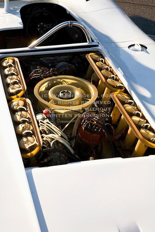 Image of a 16 cylinder Prototype motor and engine, Porsche 917 Spyder at the Rennsport Reunion III at Daytona International Speedway, Daytona, Florida, American Southeast