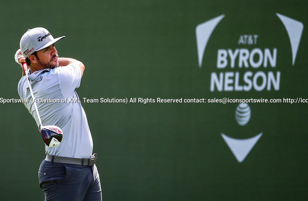 May 28, 2015: Oscar Fraustro tees off during first round action of the AT&T Byron Nelson Championship at TPC Four Seasons in Irving, Texas.