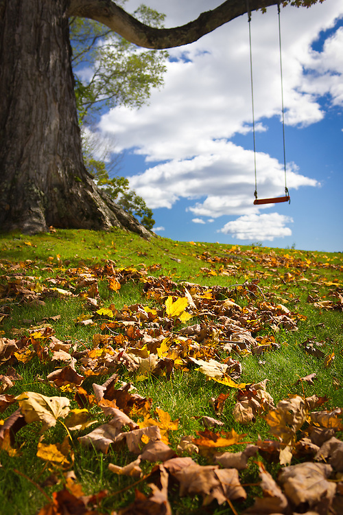 A swing sits idle on a beautiful fall afternoon at Middle Bay Bed and Breakfast in Brunswick, Maine