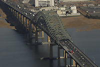 Aerial view of the Vincent R. Casciano Memorial Bridge links Newark and Bayonne across Newark Bay