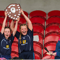 Barefield joint captains Lucy Power and Lyndsay Clarke lift the Division 1 shield.<br /> <br /> Division 1 between Barefield NS and Knockanean NS in the Clare Primary Schools Ladies Football Finals at Cusack Park, Ennis, Co. Clare
