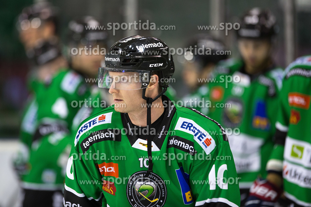 31.10.2014, Hala Tivoli, Ljubljana, SLO, EBEL, HDD Telemach Olimpija Ljubljana vs Moser Medical Graz 99ers, 15. Runde, in picture Tom Zanoski (HDD Telemach Olimpija, #10) during the Erste Bank Icehockey League 15. Round between HDD Telemach Olimpija Ljubljana and  Moser Medical Graz 99ers at the Hala Tivoli, Ljubljana, Slovenia on 2014/10/31. Photo by Matic Klansek Velej / Sportida
