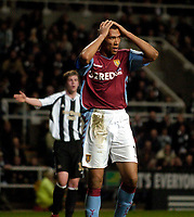 Photo: Jed Wee.<br /> Newcastle United v Aston Villa. The Barclays Premiership. 31/01/2007.<br /> <br /> Aston Villa's John Carew rues a missed opportunity.
