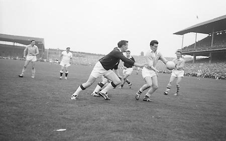 All Ireland Senior Football Final Galway v. Dublin 22nd September 1963 Croke Park...Dublin Forward M. Whelan about to kick towards Galway Goal..22.09.1963  22nd September 1963