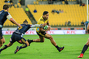 Vince Aso runs during the super rugby union  game between Hurricanes  and Highlanders, played at Westpac Stadium, Wellington, New Zealand on 24 March 2018.  Hurricanes won 29-12.