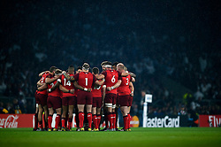 The England team huddle together prior to the match - Mandatory byline: Patrick Khachfe/JMP - 07966 386802 - 18/09/2015 - RUGBY UNION - Twickenham Stadium - London, England - England v Fiji - Rugby World Cup 2015 Pool A.