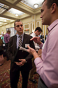 "Logan Rose talks to a representative from PNC at ""Meet the Accountants"" on Thursday. Photo by Katelyn Vancouver"