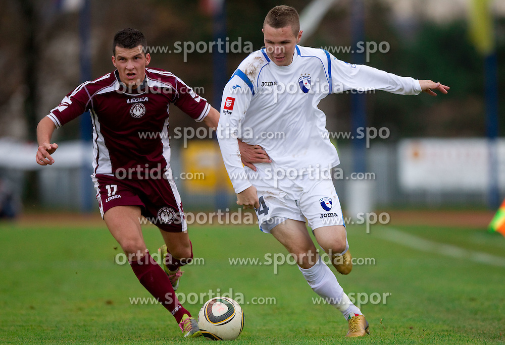Matic Sever of Triglav vs Jasmin Kurtic of Gorica  during football match between NK Triglav Gorenjska and NK HIT Gorica in 17th Round of PrvaLiga, on November 14, 2010 in Sports center Kranj, Kranj, Slovenia. Triglav defeated Gorica 2-0.  (Photo By Vid Ponikvar / Sportida.com)
