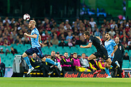 SYDNEY, AUSTRALIA - OCTOBER 27: Sydney FC defender Jop van der Linden (5) heads the ball at The Hyundai A-League Round 1 soccer match between Sydney FC and Western Sydney Wanderers FC The Sydney Cricket Ground in Sydney on October 27, 2018. (Photo by Speed Media/Icon Sportswire)