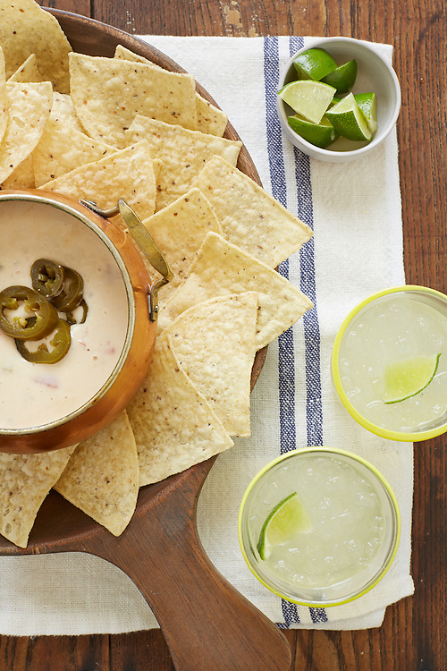 Queso Blanco With Tortilla Chips And Margaritas