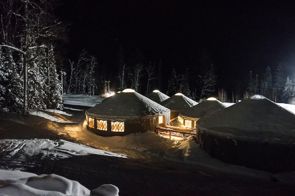 Yurt village at Mount Bohemia ski resort on Michigan's Keweenaw Peninsula.