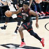 03 May 2017: Houston Rockets center Clint Capela (15) brings the ball up court on the fast break during the San Antonio Spurs 121-96 victory over the Houston Rockets, in game 2 of the Western Conference Semi Finals, at the AT&T Center, San Antonio, Texas, USA.