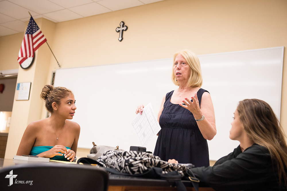 Dr. Christine Rowe, dean of the Division of Teacher Education and associate professor of Teacher Education, works with students during an orientation class at Concordia College New York on Saturday, July 19, 2014, in Bronxville, NY. LCMS Communications/Erik M. Lunsford
