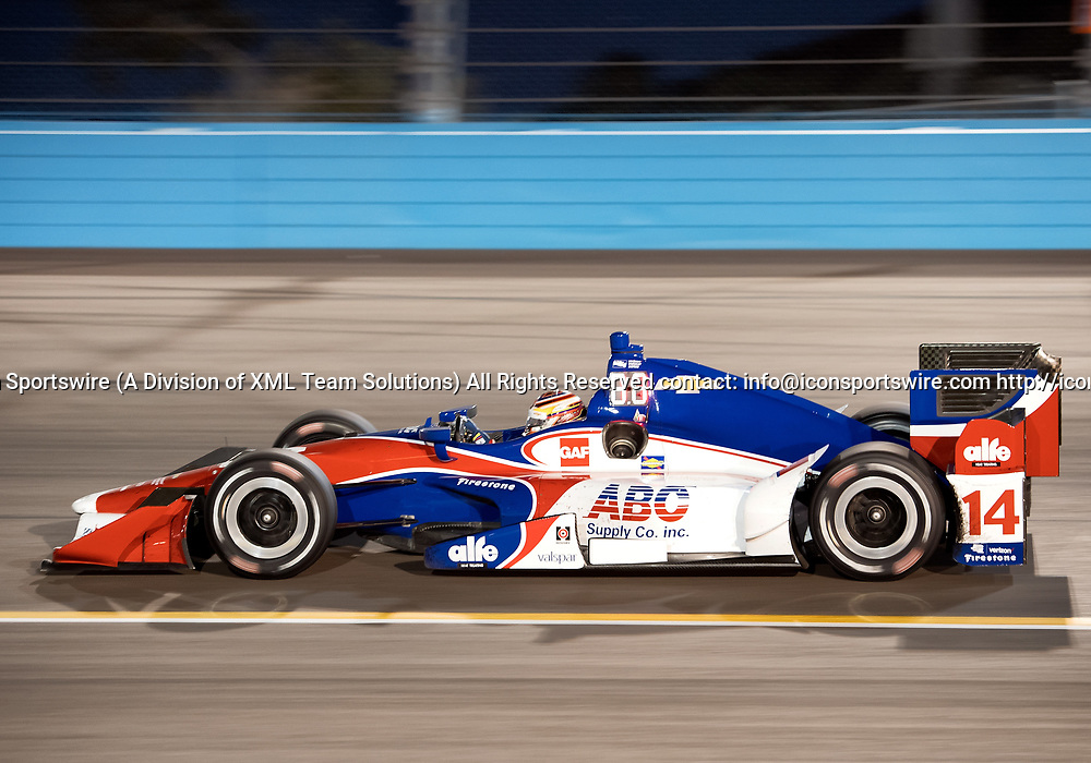 AVONDALE, AZ - APRIL 29: AJ Foyt Enterprises driver Carlos Munoz (14) of Columbia finished tenth in the Verizon IndyCar Desert Diamond West Valley Phoenix Grand Prix on April 29, 2017, at Phoenix International Raceway in Avondale, AZ. (Photo by Carlos Herrera/Icon Sportswire)